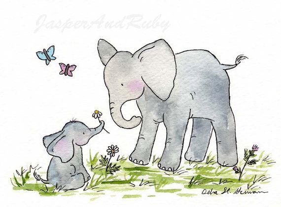 Elephant Art Nursery Art Ellie And Mama 5x7 By Jasperandruby