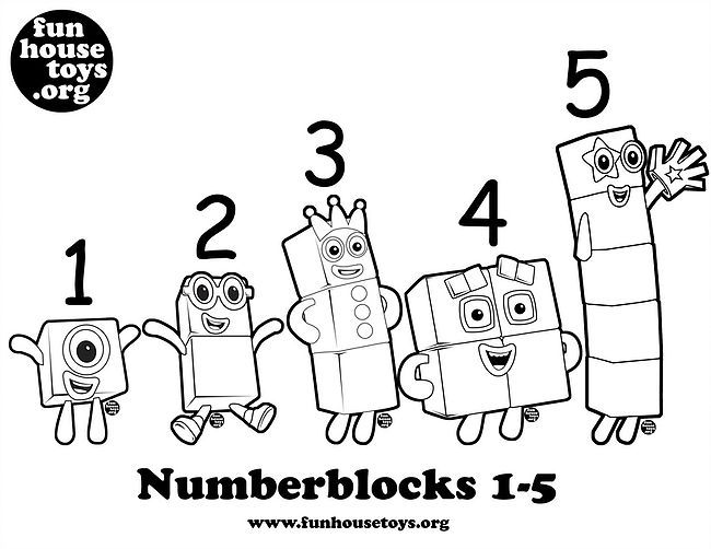 Numberblocks 1 T0 5 Printable Coloring P Fun Printables For Kids Numbers Preschool Preschool Writing