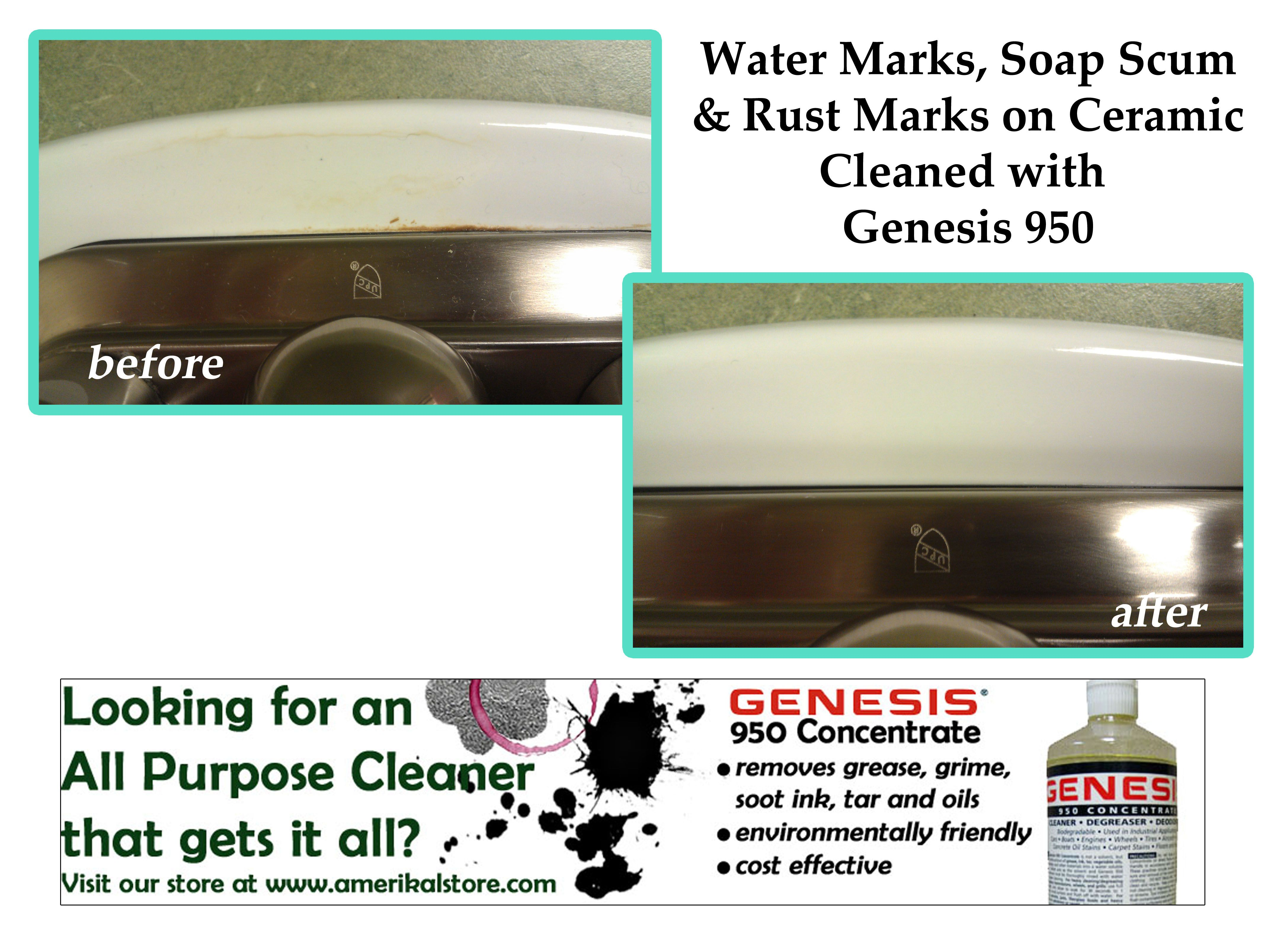 Before & After - Genesis 950 was used on a ceramic sink and stainless steel fixture to remove dirt, water marks, rust and soap scum.