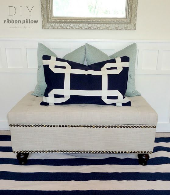DIY No-sew Greek Key Ribbon Pillows Made With Glue! Such