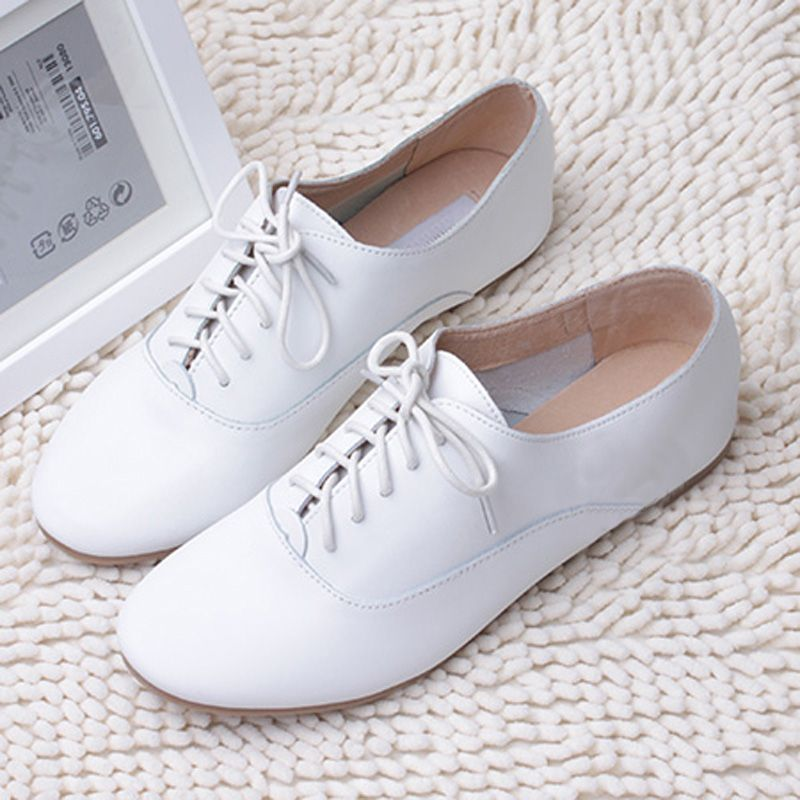Women/Lady White Leather Loafer Oxford