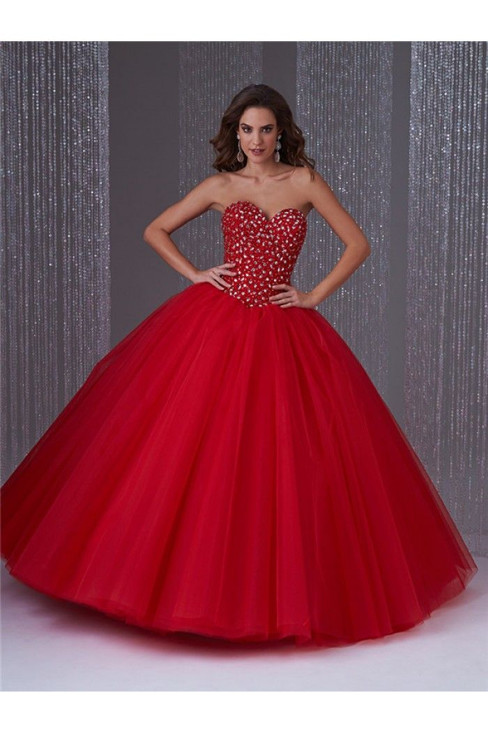 Ball Gown Strapless Red Tulle Beaded Corset Quinceanera Prom Dress