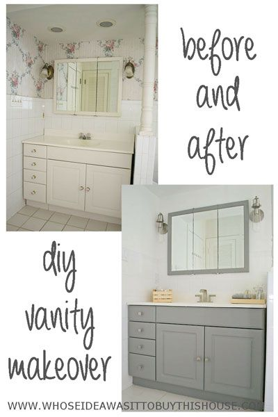 How To Transform A Dingy Old Laminate Vanity With Some Paint And New - Painting bathroom vanity laminate