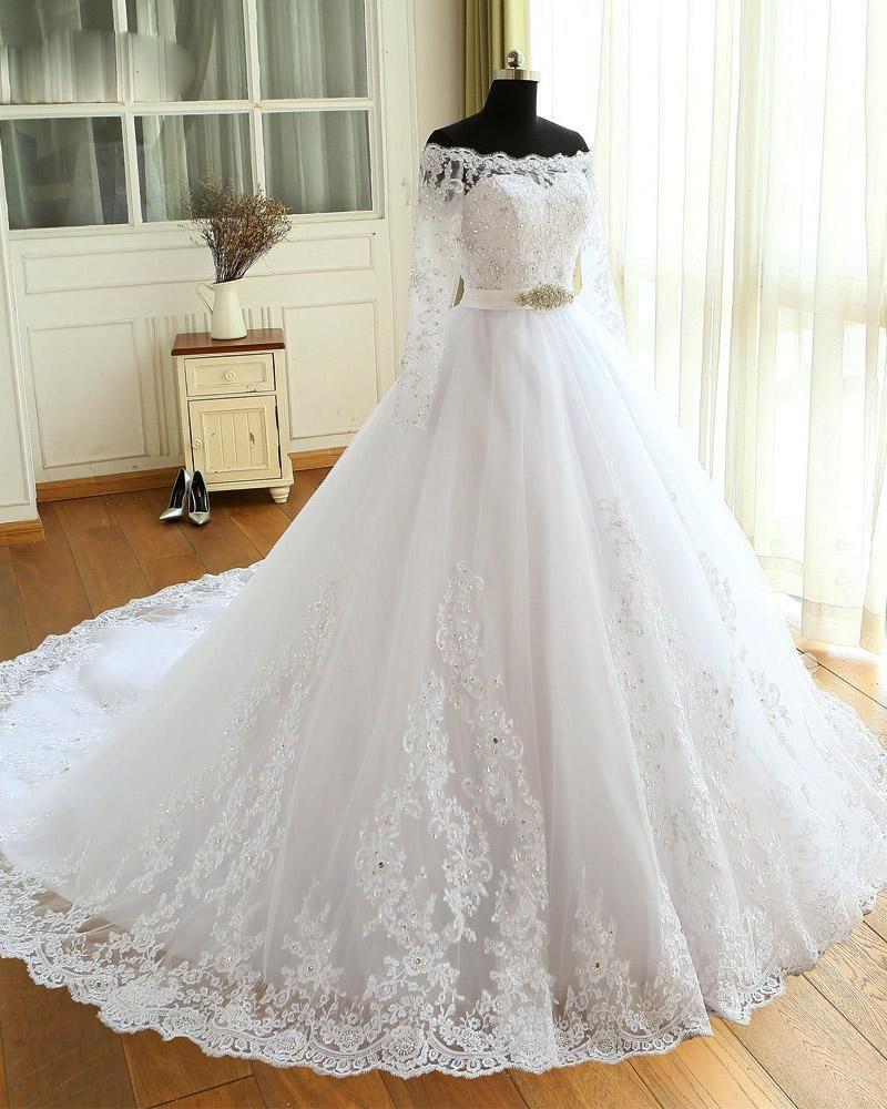 Princess White Long Sleeves Lace Wedding Dresses Bride Gown Ball Gown Wd685 Long Sleeve Wedding Dress Lace Long Bridal Gown Wedding Dresses [ 1000 x 800 Pixel ]