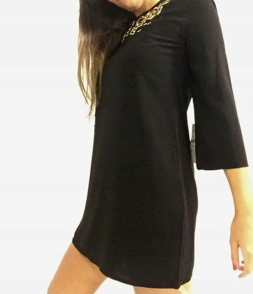 c224c6f8 NWT ZARA Black Dress with Embroidered Neckline Beaded Size XS Ref. 7521/274  #ZARA #Tunic #Casual