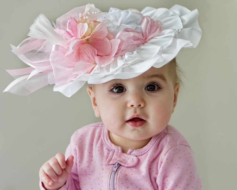 Baby Girl Hat - Spring, Easter, Tea Party - Frilly Hat. $48.00, via Etsy.