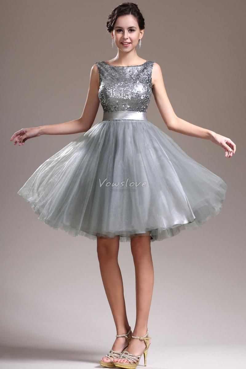 Ball Gown Above Knee Silver Grey Multilayer Tulle Short Evening ...