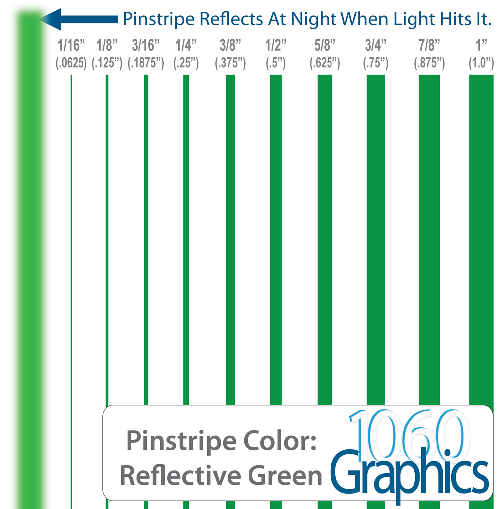 """GREEN Reflective Double Pinstripes 1//8/"""" 1//16/"""" 3//16/"""" 3//32/"""" 1//4/"""" 1//2/"""" inch wide"""
