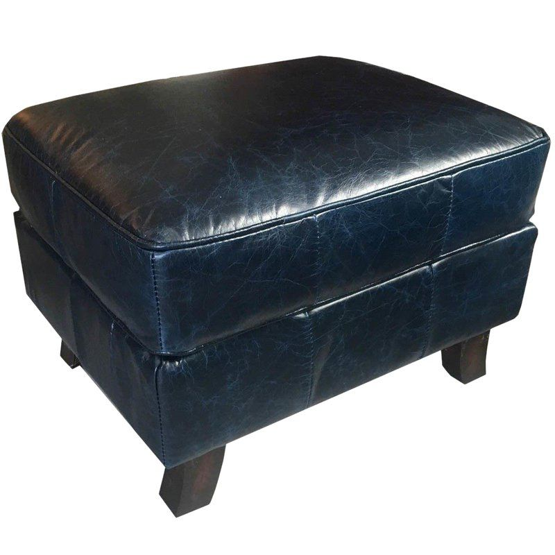 Blue Leather Ottoman Pictures: Dark Blue Leather Ottoman