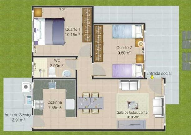 Planos de casas de 50 metros cuadrados 2 dormitorios for Decoracion de casas de 65 metros cuadrados
