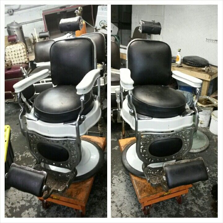 Avail Chairs Antique Barber Chair Restoration Metal Finishes Nickel And Chrome Plating Sand Blasting Porcelain Refinishing Or Your Choice True