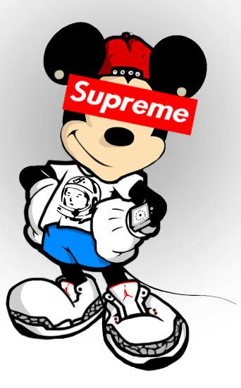 Mickey Mouse Supreme Mickey mouse art, Mickey mouse