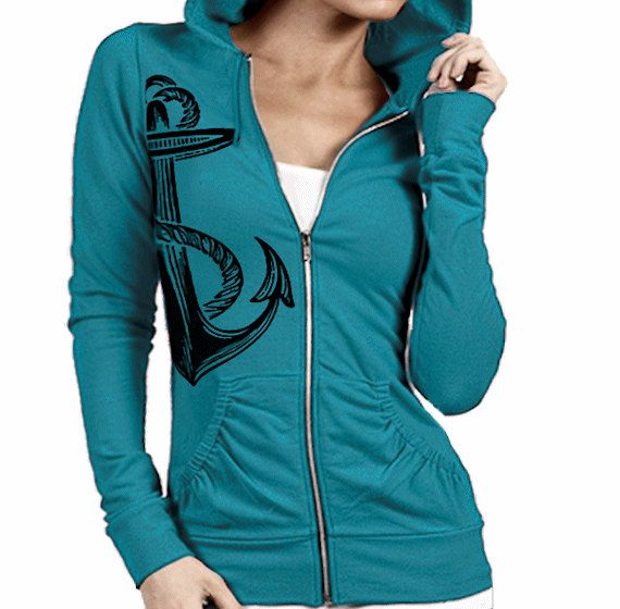 Women's Zip Up Hoodie Jacket Anchor Screen Print by GOFBclothing ...