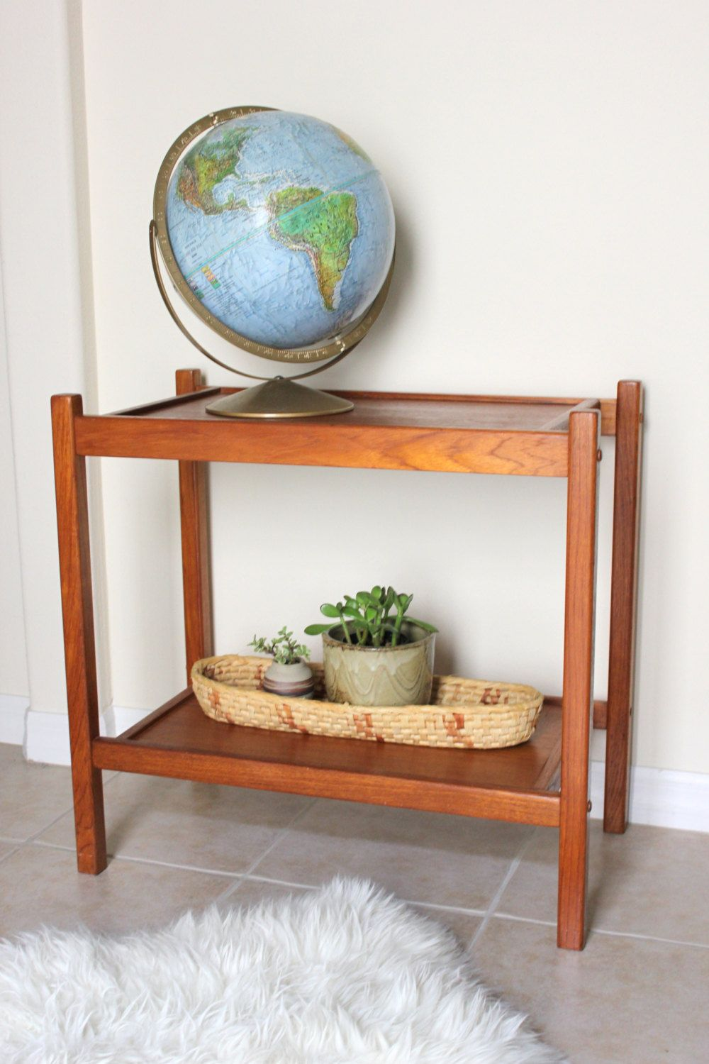 Mid century teak entry console table plant stand book shelf by mid century teak entry console table plant stand book shelf by kollektive on geotapseo Image collections