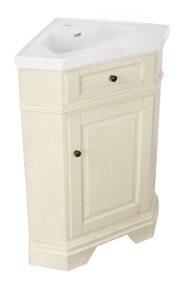 A Corner Sink Can Save A Lot Of Space When You Re Remodeling A Small Bathroom This Corner Vanity Features A V Corner Bathroom Vanity Corner Vanity Corner Sink
