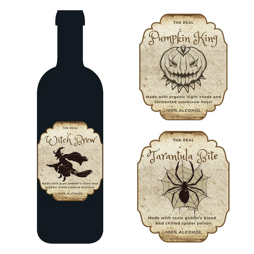Halloween Wine Labels Set Of 8 Printable Apothecary Wine Etsy Halloween Wine Labels Halloween Wine Halloween Party Printables
