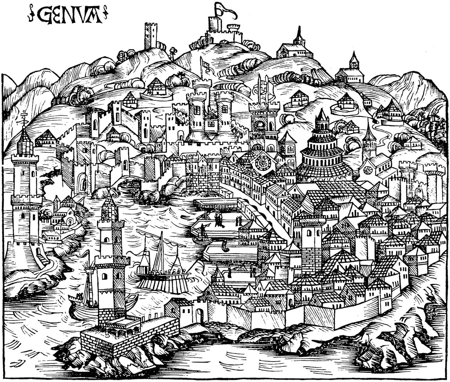 Historical Ancient Map of Genoa ancient maps Pinterest Genoa