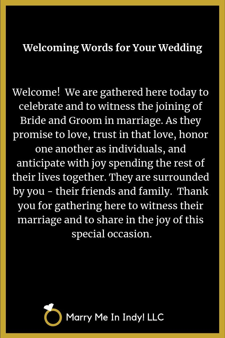 Welcoming Words For Your Wedding Ceremony with PDF's