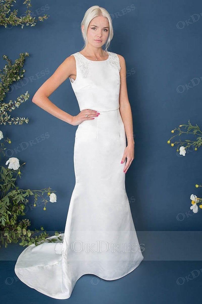 Simple satin mermaid wedding dresses cheap party dresses online