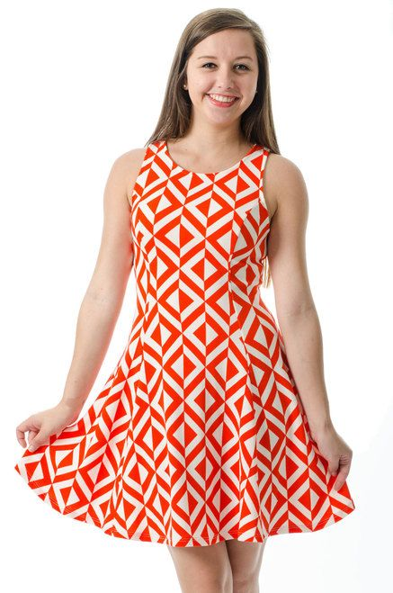 How cut is this Orange Fit and Flare Dress for a Game Day!