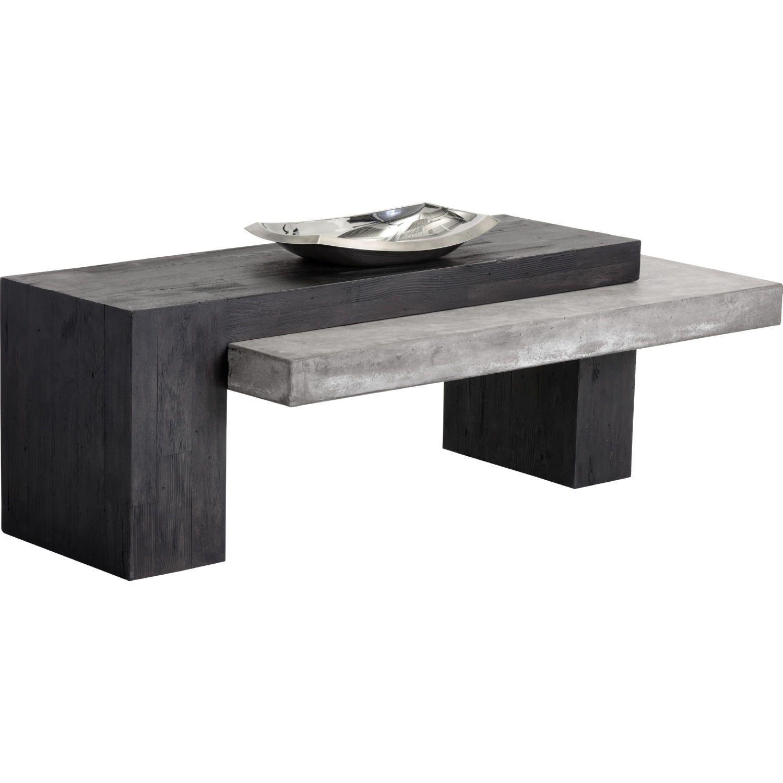 Sunpan Zoron Coffee Table Concrete Dark Acacia Coffee Table Unique Coffee Table Rectangular Coffee Table [ 1500 x 1500 Pixel ]