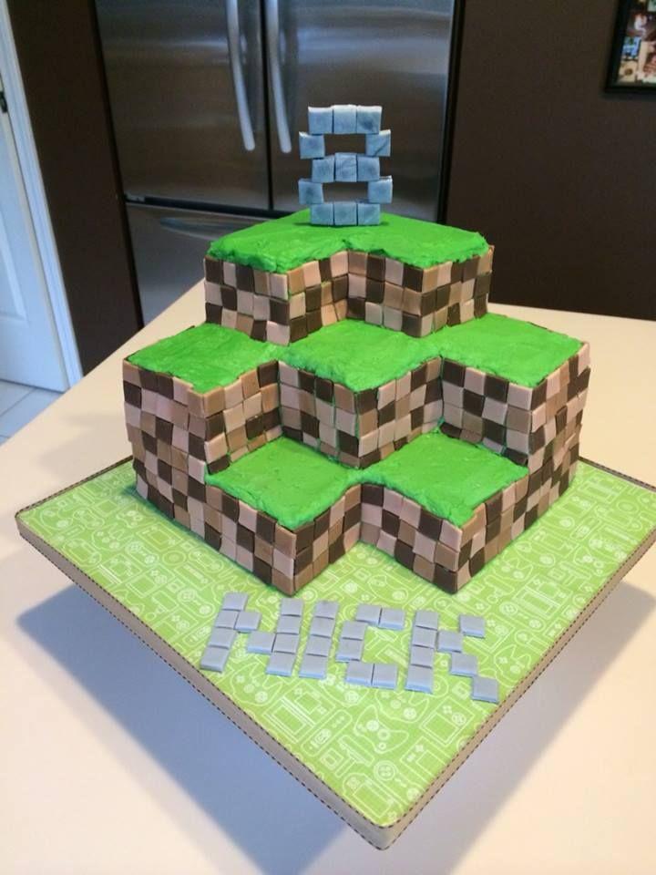 minecraft 3d cake little plastic figures to be added later gamer cake ideas pinterest. Black Bedroom Furniture Sets. Home Design Ideas