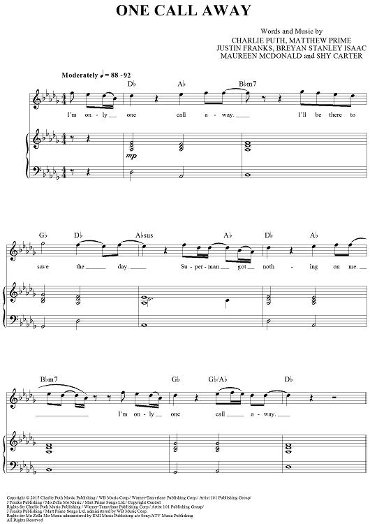 One Call Away   Music chords. Violin music. Sheet music