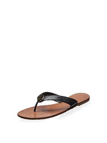 81a932ff08fc5 Tory Burch Womens Thora Flat Thong Sandal BlackGold 8 BM US     You can get  more details by clicking on the image.