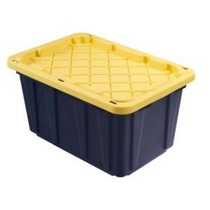 Hdx 27 Gal Tough Storage Bin In Black Hdx27gonline 5 The Home Depot Stackable Storage Bins Tote Storage Yellow Storage