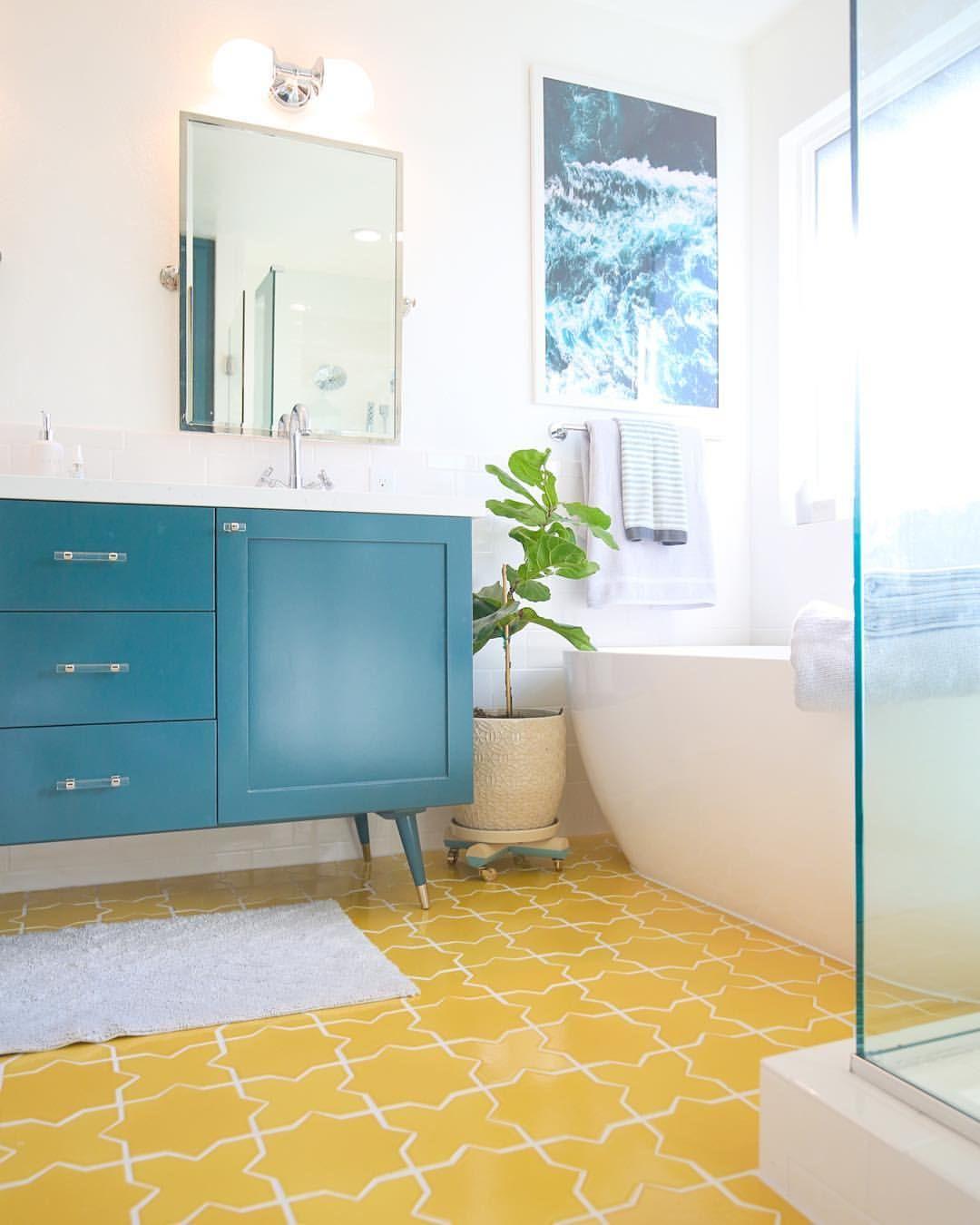 Teal Bathroom Vanity And Yellow Tile Floor Teal Bathroom Bathrooms Remodel Bright Bathroom