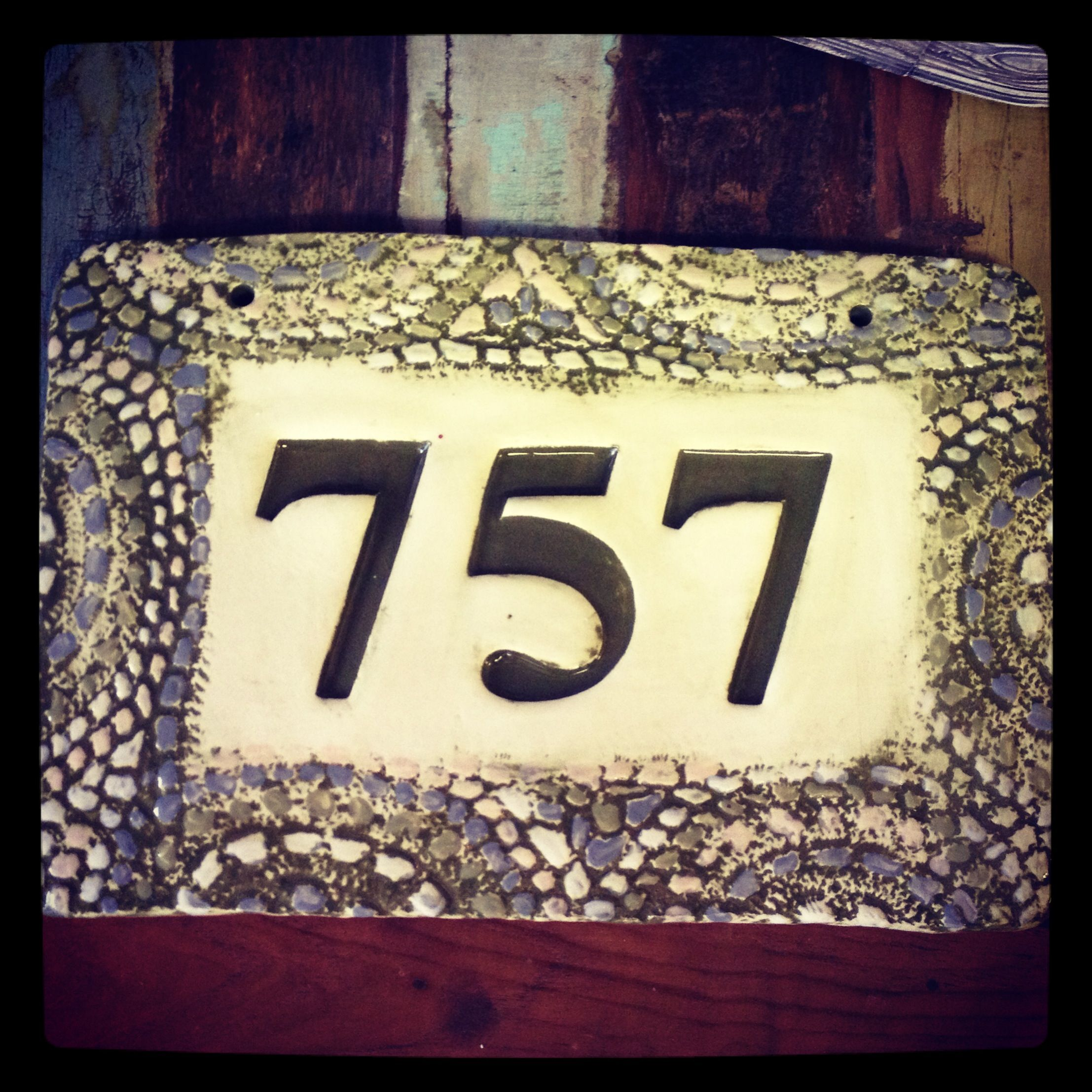 House number tile with mosaic style blanket border Hand made