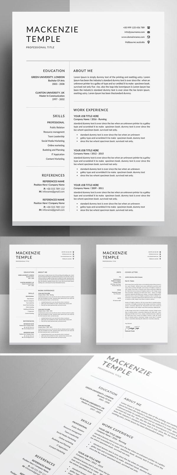Resume Template CV + Cover Letter Resume design free