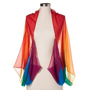 Unisex Mens Womens Gay Pride Rainbow Stripe Chiffon Fashion Scarf