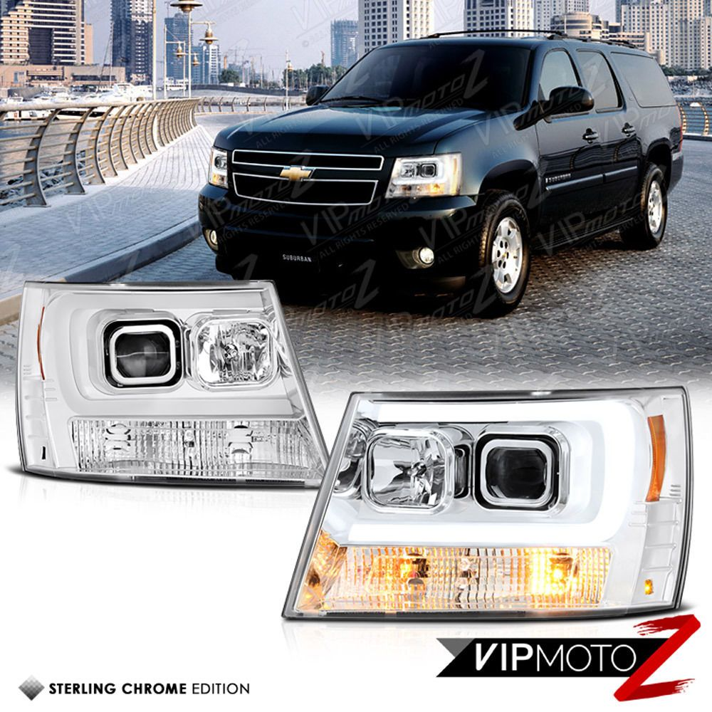 2007 2014 chevy tahoe suburban 1500 2500 halo led drl projector headlights black 2014 chevy and chevy