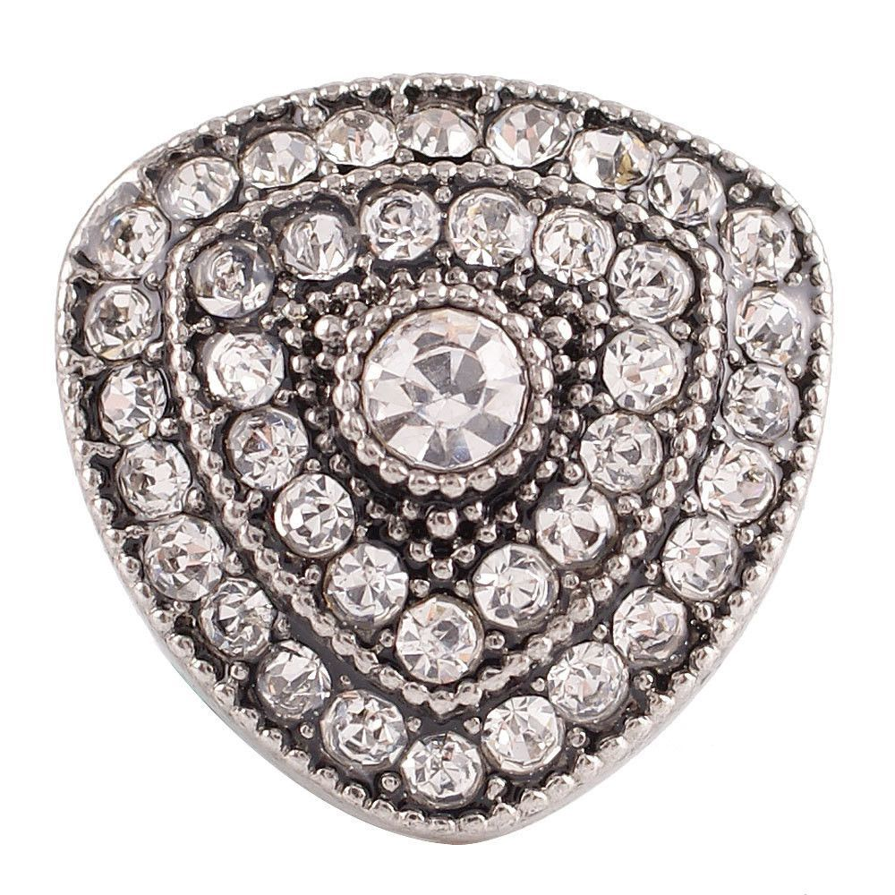 1 PC - 18MM White Rhinestone Silver Tone Charm for Candy Snap Jewelry KC7137 CC2446