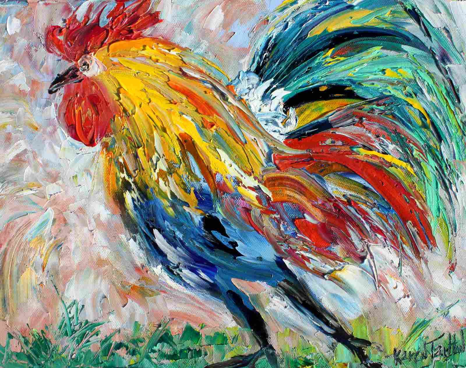 rooster painting original oil abstract