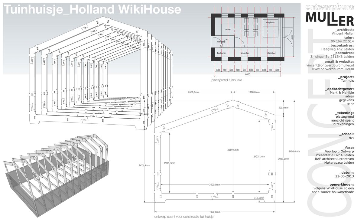 Small Garden House in Leiden, The Netherlands. Open Source building structure: WikiHouse.cc