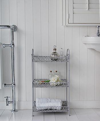 Grey Freestanding Bathroom Shelf Unit French Coastal White Furniture
