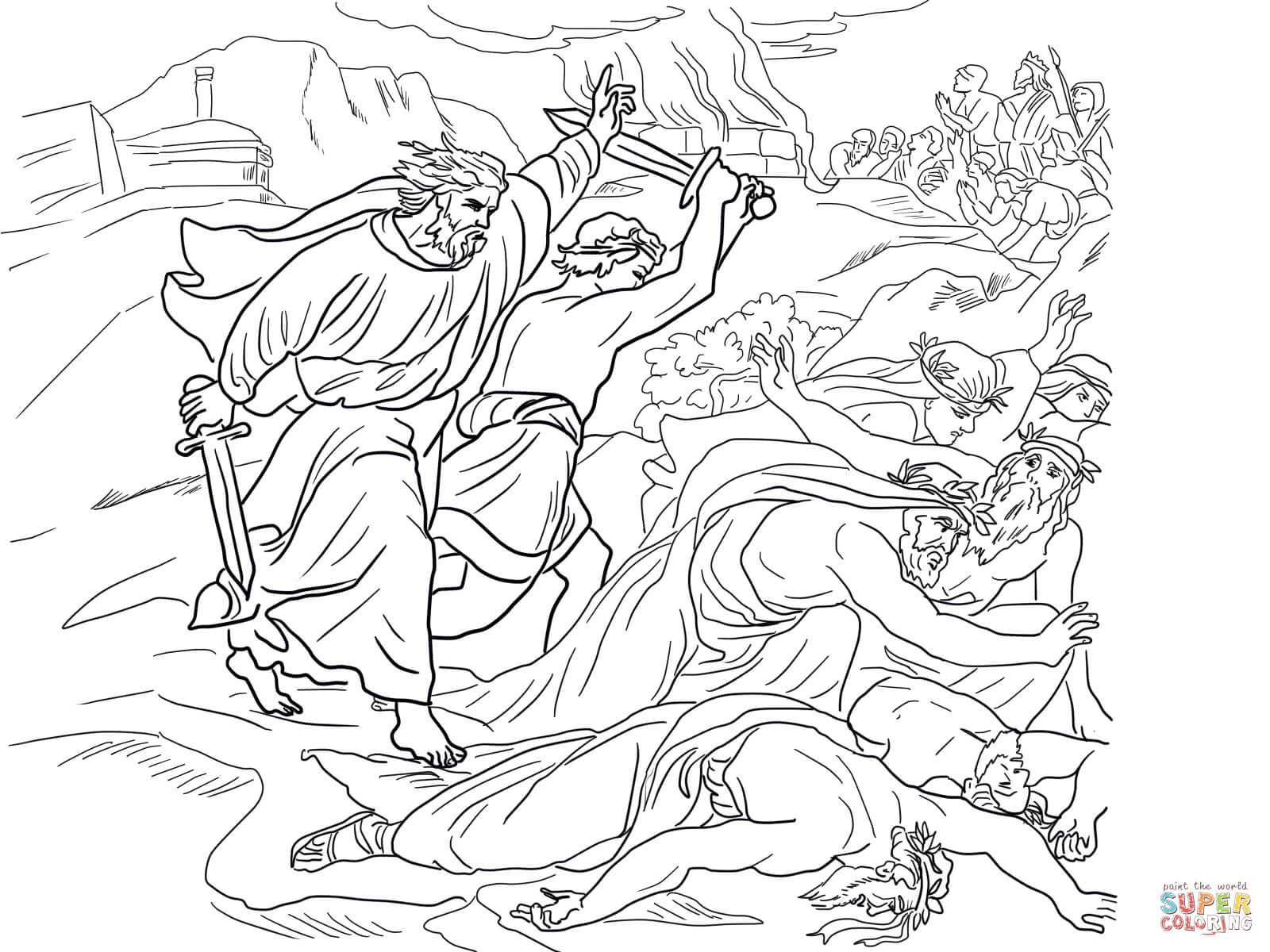 elijah defeats the prophets of baal coloring page from prophet elijah category select from 25587 printable crafts of cartoons nature animals bible and - Elijah Bible Story Coloring Pages