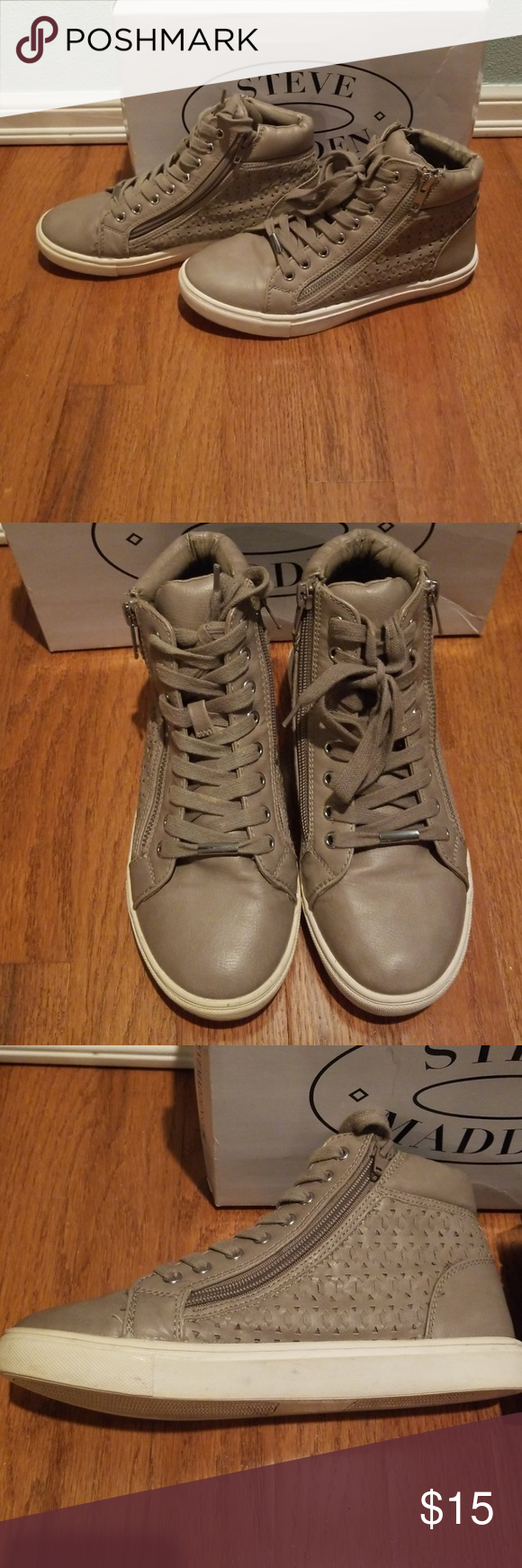 1c0a586bfdf Steve Madden Eiris Sneakers Grey high top sneakers with zipper design on  both sides. All flaws shown in pics. A little discoloration on the strings  and ...