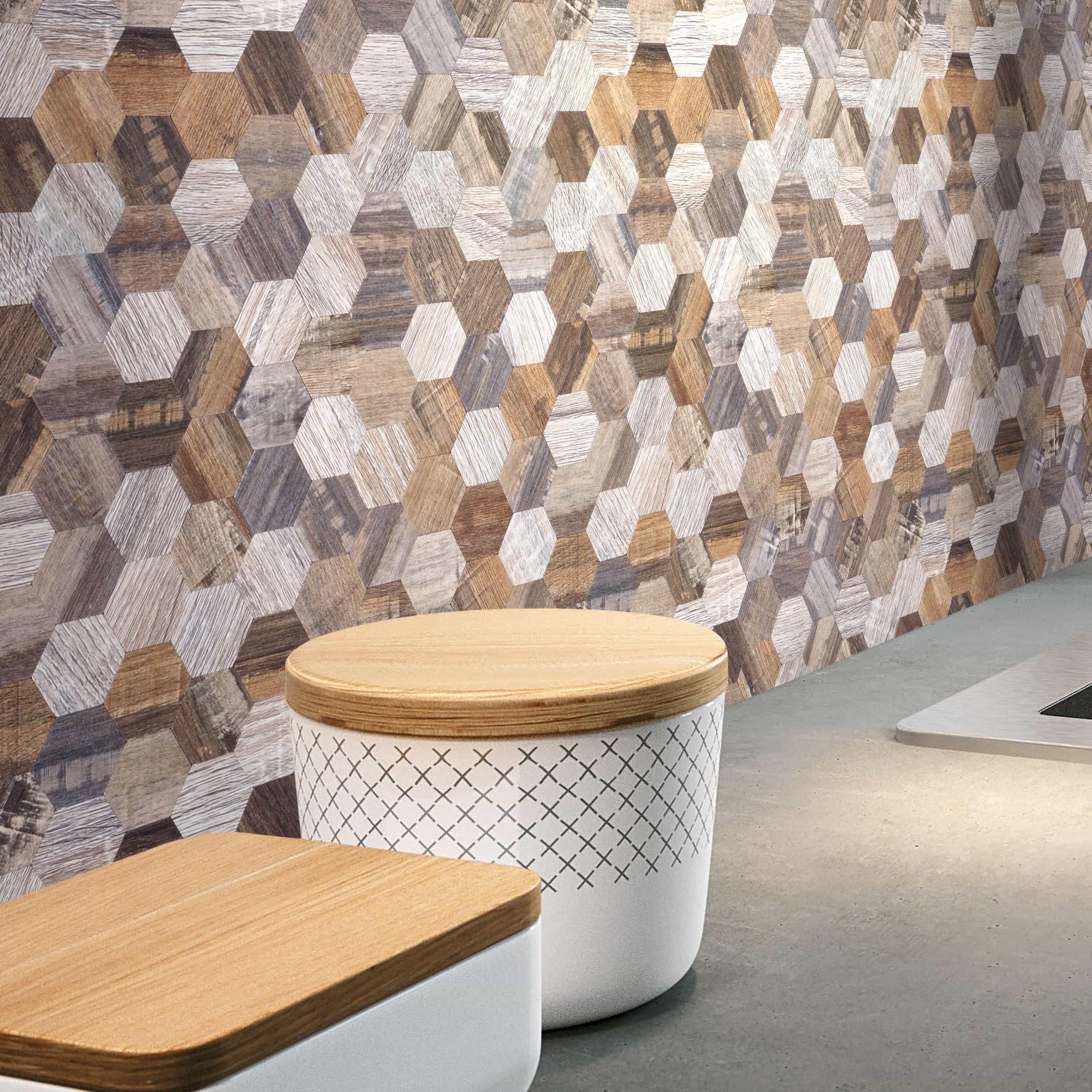 Peel And Stick Wood Wall Tiles Ideas To Create A: Modern Wood Look Hexagon DIY Peel-n-Stick Wall Tile