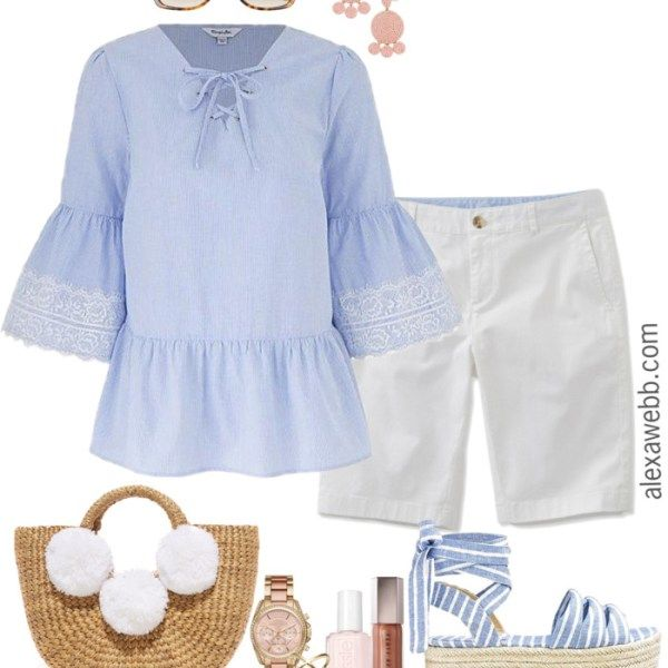 fa1359071af3 Plus Size White Shorts - Plus Size Outfit Idea - Plus Size Summer Shorts  Outfit -