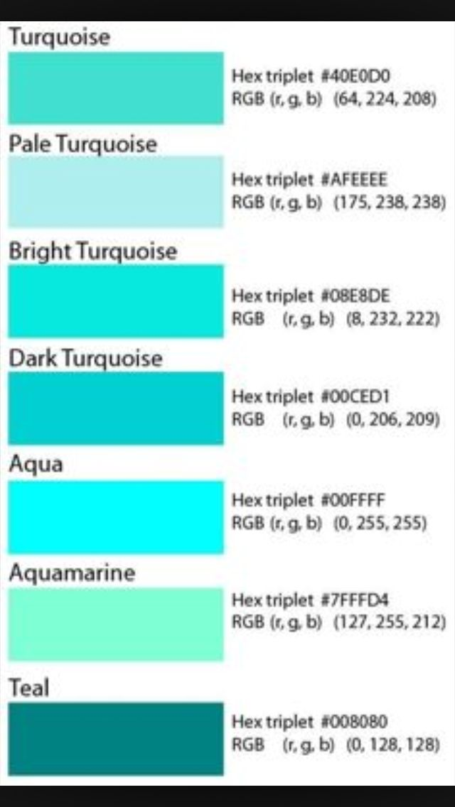 Possible Shades Of Teal Aqua Paletas De Color En 2018