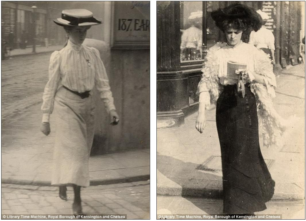 Edwardian Street Style:     A young woman pictured in Cromwell Road, London on July 12th 1905 in a stylish white shirt with a belt and an ankle-length skirt (left) while another woman, who Sambourne describes as a 'shopgirl' walks along Kensington Church Street, on September 8th 1906    By MAIL ON SUNDAY REPORTER