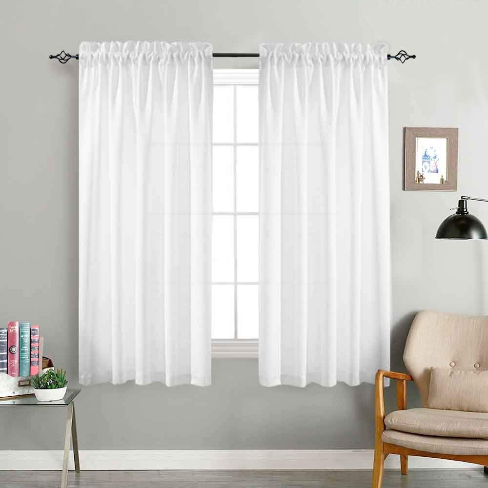 Jinchan Privacy Semi Sheer Curtains For Bedroom Casual Weave