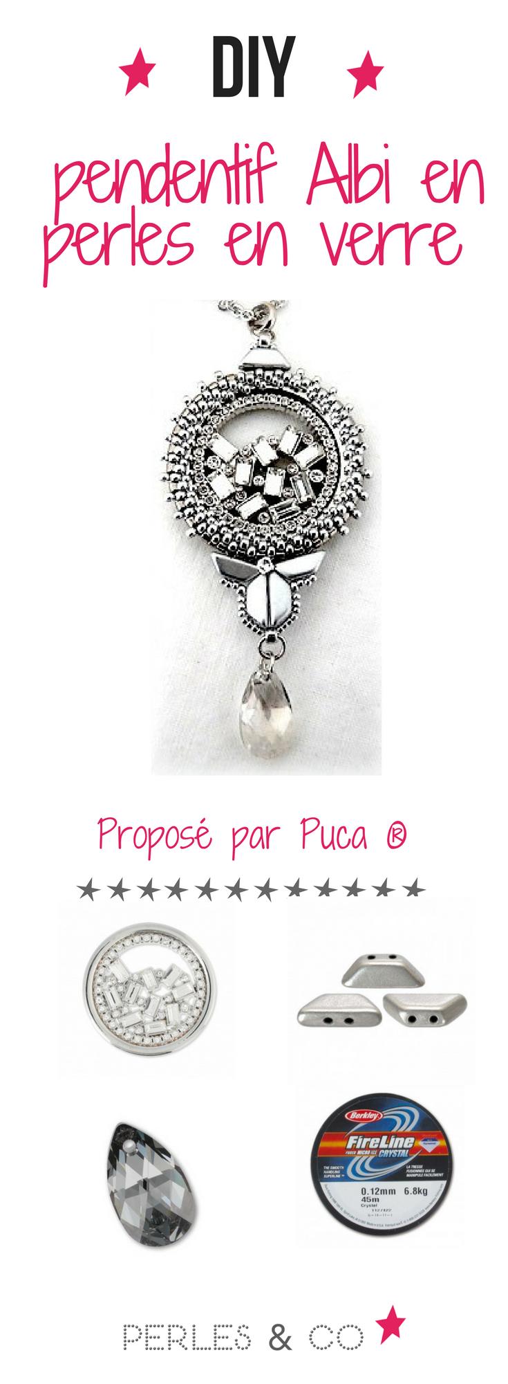 945ec6009 Un DIY pendentif perles en verre proposé par la fabuleuse créatrice Puca !  Apprenez avec ce