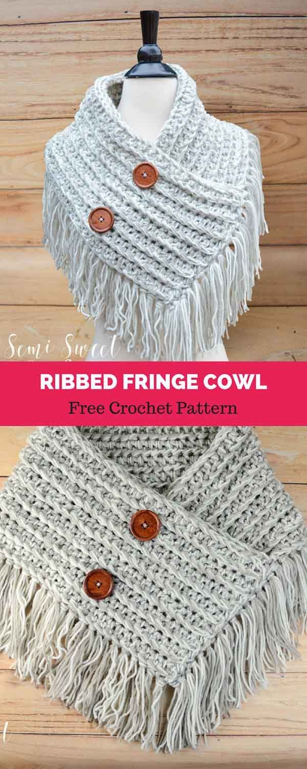 Ribbed Fringe Cowl [ FREE CROCHET PATTERN | Pinterest | Schals ...