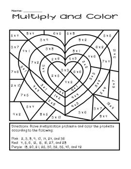 Valentine S Day Multiply And Color Activity Math Valentines Valentines Day Activities Classroom Fun