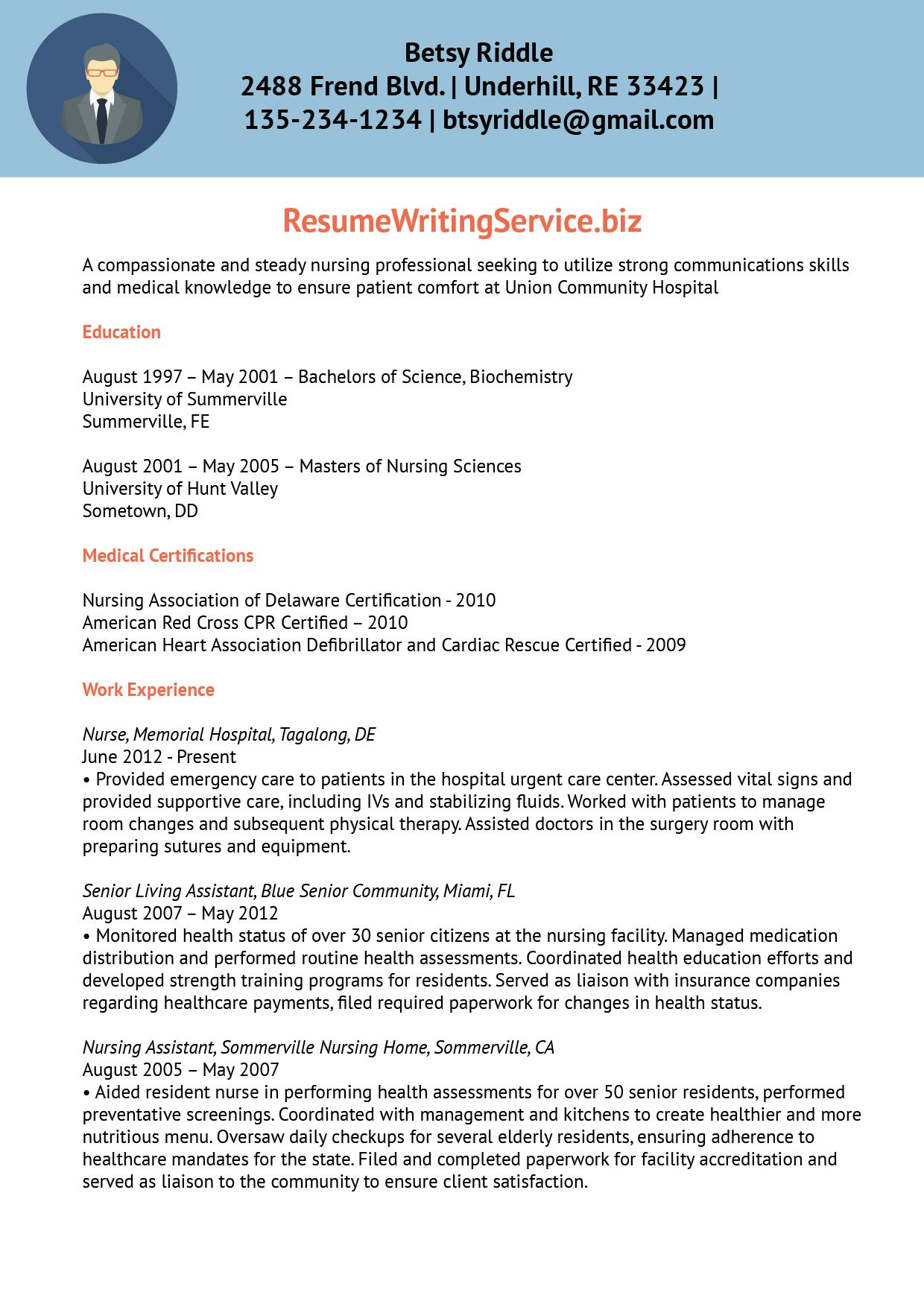 professional nursing resume writing services