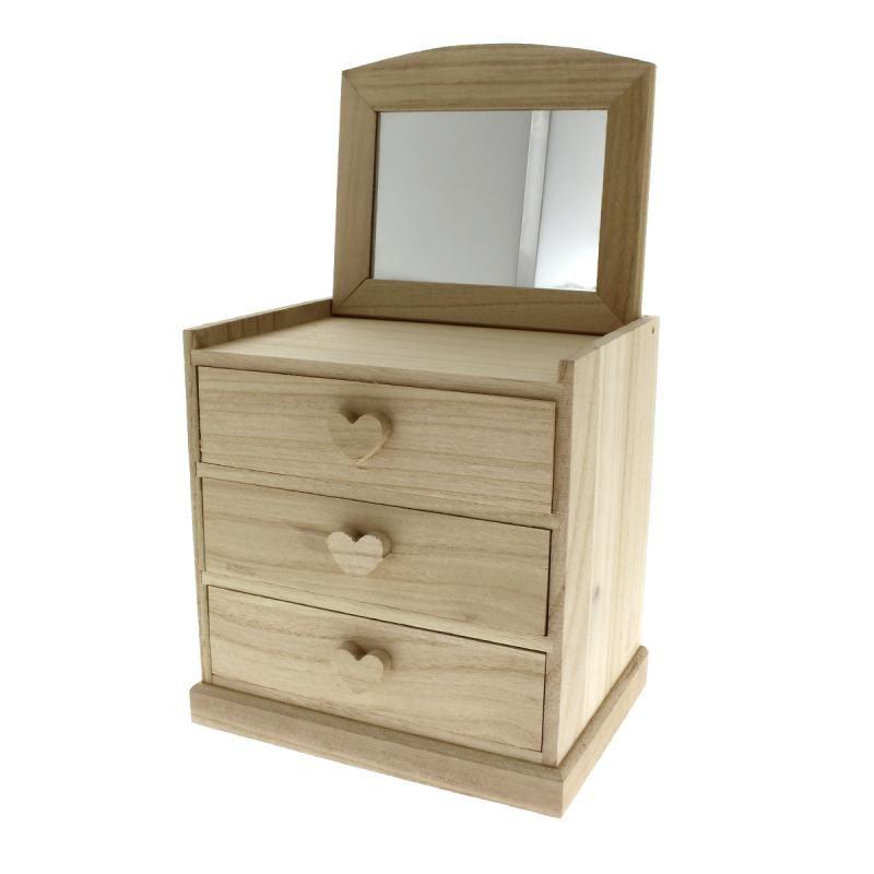 Compra nuestros productos a precios mini Tocador Corazones 3 cajones de madera para decorar - 20 x 20 x 15 cm - Entrega rápida, gratuita a partir de 89 € !
